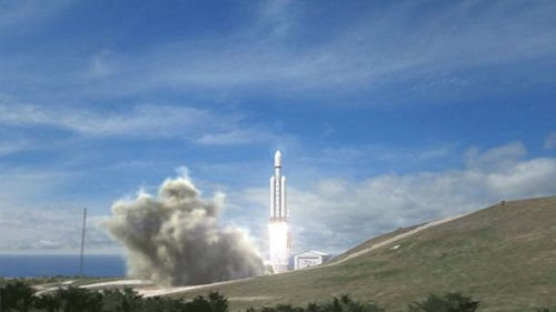 Старт ракеты-носителя Falcon Heavy